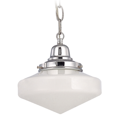 Design Classics Lighting 8-Inch Schoolhouse Mini-Pendant Light with Chain in Chrome Finish FB4-26 / GE8 / B-26
