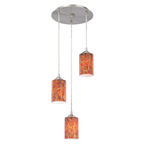 Design Classics Lighting Modern Multi-Light Pendant Light with Art Glass and 3-Lights 583-09 GL1012C