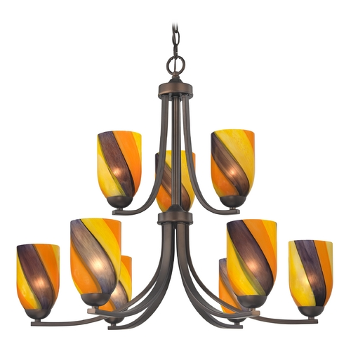 Design Classics Lighting Modern Chandelier with Art Glass in Neuvelle Bronze Finish 586-220 GL1015D