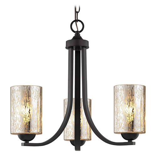 Design Classics Lighting Mercury Glass Mini-Chandelier Bronze 5843-220 GL1039C
