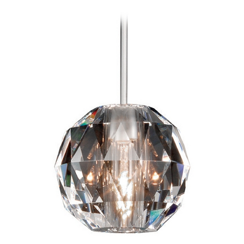 WAC Lighting Wac Lighting Crystal Collection Brushed Nickel Mini-Pendant with Globe Shade MP-930-CL/BN