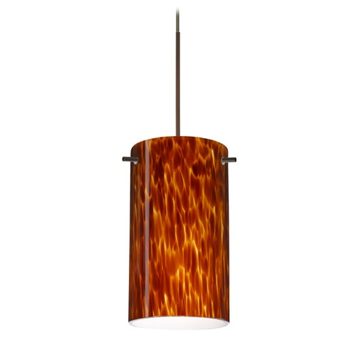 Besa Lighting Besa Lighting Stilo 7 Bronze LED Mini-Pendant Light with Cylindrical Shade 1XT-440418-LED-BR