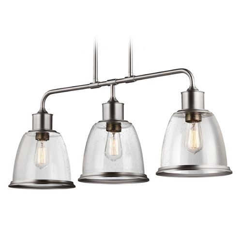 Feiss Lighting Feiss Lighting Hobson Satin Nickel Island Light with Bowl / Dome Shade F3019/3SN