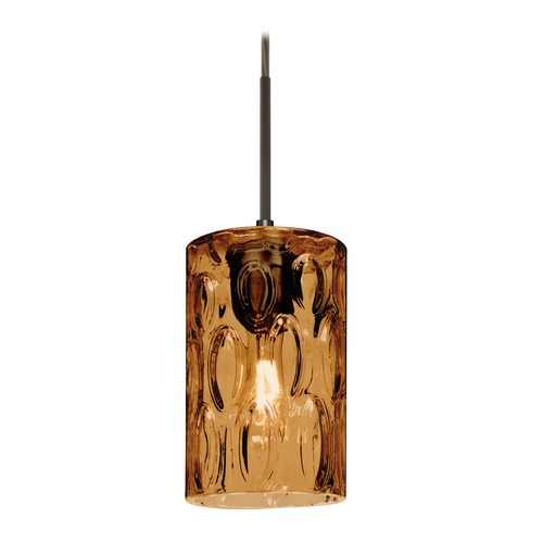 Besa Lighting Besa Lighting Cruise Bronze Mini-Pendant Light with Cylindrical Shade 1JT-CRUSAM-BR