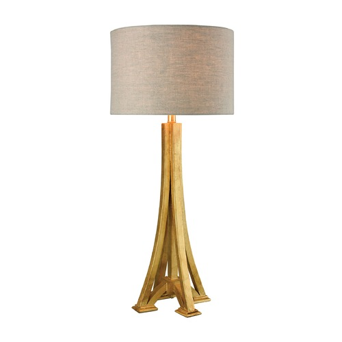 Dimond Lighting Dimond L'expo Antique Gold Leaf Table Lamp with Drum Shade 1202-003