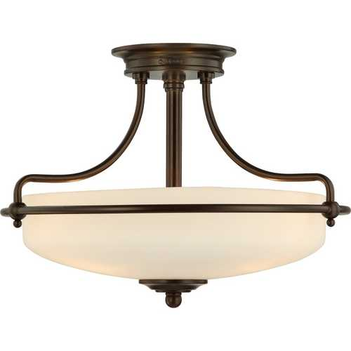 Quoizel Lighting Modern Ceiling Light with White Glass in Bronze Finish GF1717PN