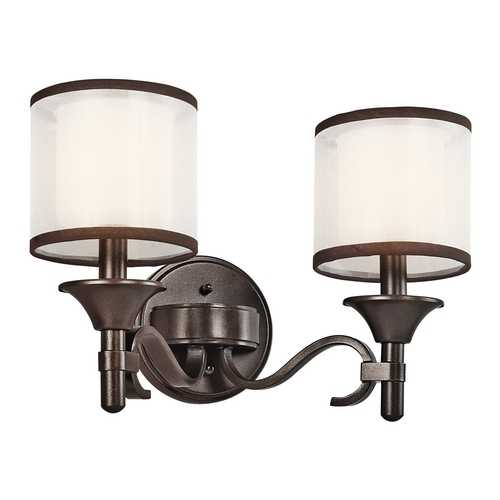 Kichler Lighting Kichler Bathroom Light with White Glass in Mission Bronze Finish 45282MIZ