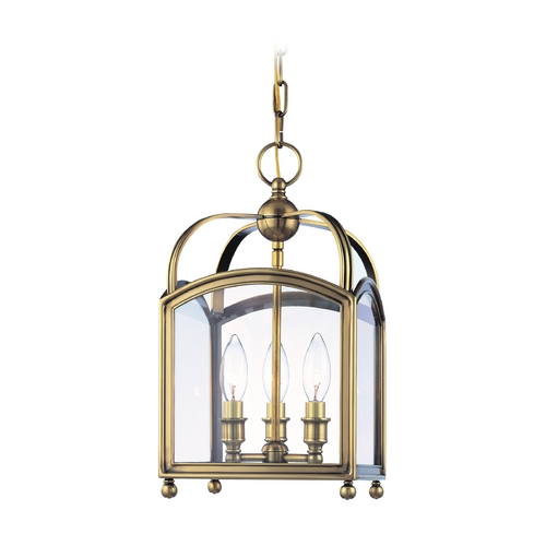 Hudson Valley Lighting Mini-Pendant Light with Clear Glass in Aged Brass Finish 8409-AGB