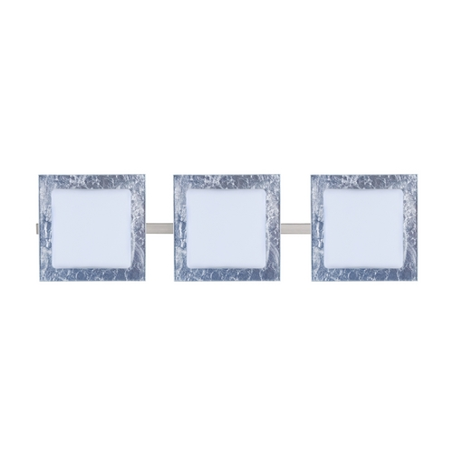Besa Lighting Modern Bathroom Light with Silver Glass in Satin Nickel Finish 3WS-7735SF-SN