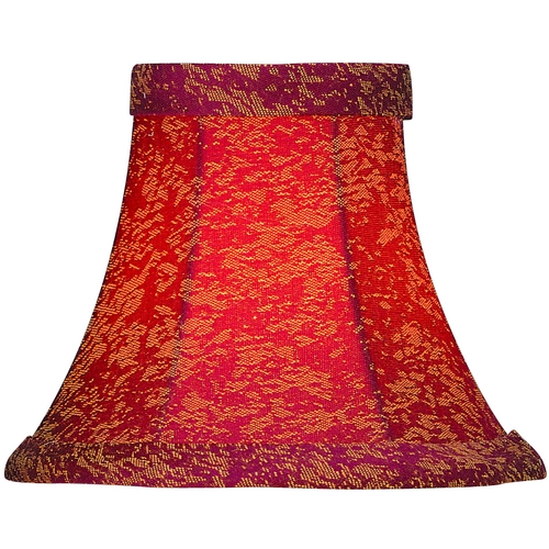 Lite Source Lighting Red Jacquard Bell Lamp Shade with Clip-On Assembly CH533-6