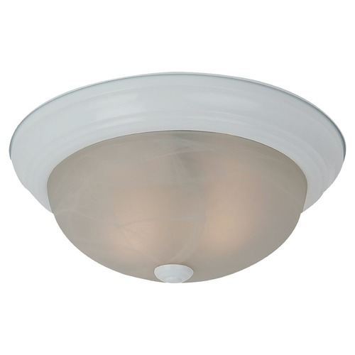 Sea Gull Lighting Flushmount Light with Alabaster Glass in White Finish 75942BLE-15