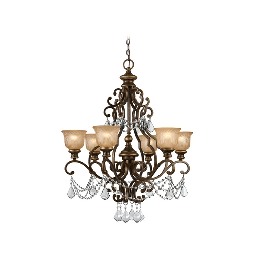 Crystorama Lighting Crystal Chandelier with Amber Glass in Bronze Umber Finish 7516-BU-CL-SAQ