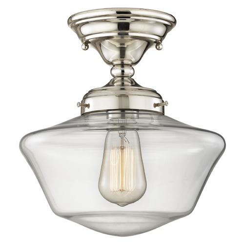 Design Classics Lighting 10-Inch Clear Glass Schoolhouse Semi-Flushmount Light in Polished Nickel FAS-15 / GA10-CL