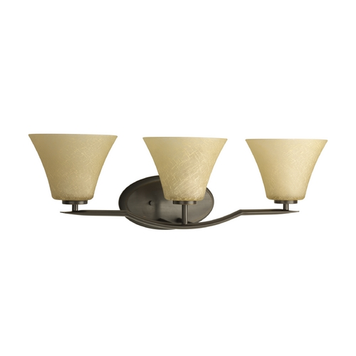 Progress Lighting Progress Bathroom Light with Brown Glass in Antique Bronze Finish P2006-20