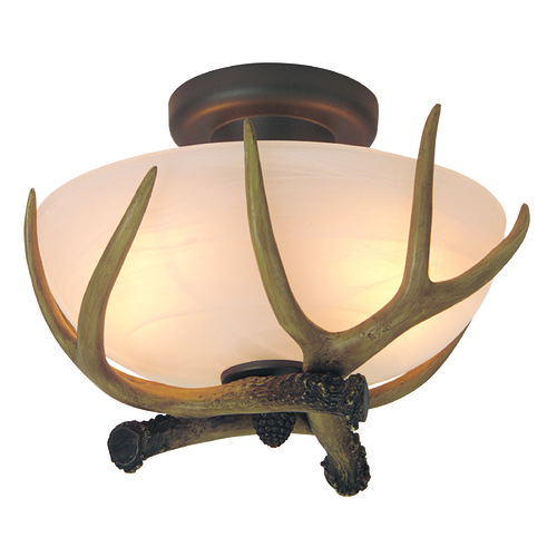 Craftmade Lighting Craftmade Antler European Bronze Semi-Flushmount Light X1611-EB