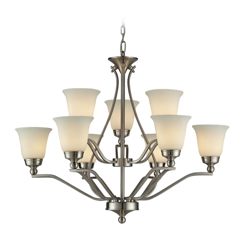 Elk Lighting Modern LED Chandelier with White Glass in Brushed Nickel Finish 11504/6+3-LED