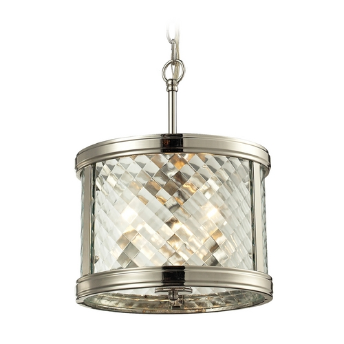 Elk Lighting Drum Pendant Light with Clear Glass in Polished Nickel Finish 31461/3