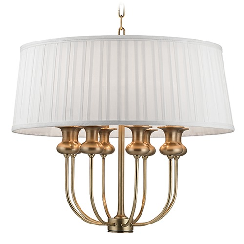 Hudson Valley Lighting Pembroke 8 Light Pendant Light Drum Shade - Aged Brass 5408-AGB
