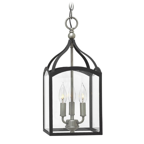 Hinkley Lighting Hinkley Lighting Clarendon Aged Zinc Pendant Light with Rectangle Shade 3413DZ