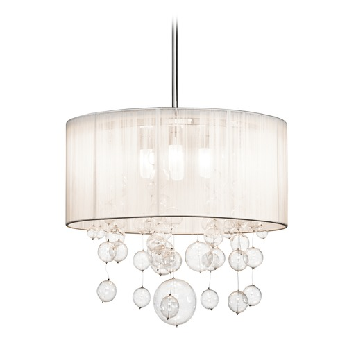Elan Lighting Elan Lighting Imbuia Chrome Pendant Light with Drum Shade 83230