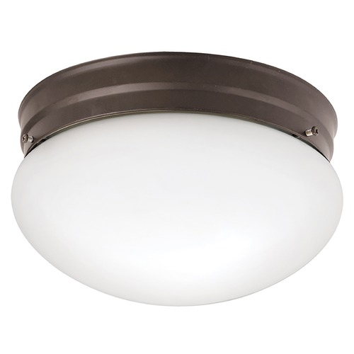Kichler Lighting Kichler Modern Flushmount Light with White Glass in Olde Bronze Finish 209OZ