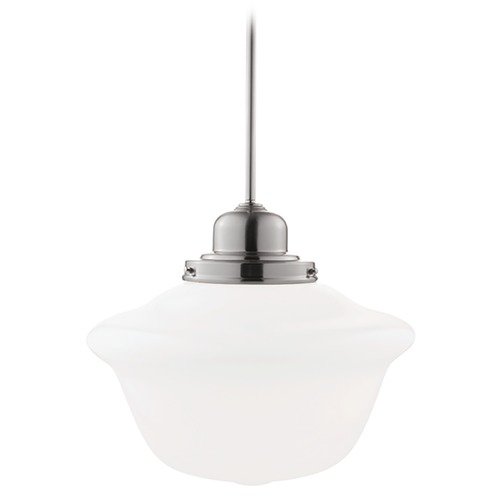 Hudson Valley Lighting Pendant Light with White Glass in Satin Nickel Finish 19-SN-1612