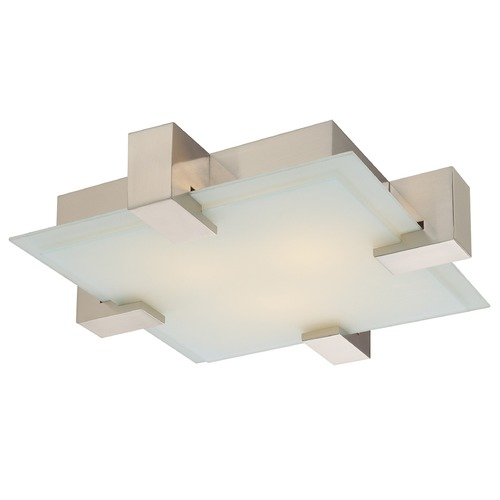 Sonneman Lighting Modern Flushmount Light with White Glass in Satin Nickel Finish 3680.13