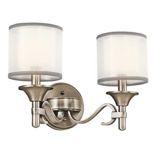 Kichler Lighting Kichler Bathroom Light with White Glass in Antique Pewter Finish 45282AP
