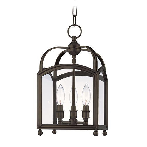 Hudson Valley Lighting Mini-Pendant Light with Clear Glass in Distressed Bronze Finish 8409-DB