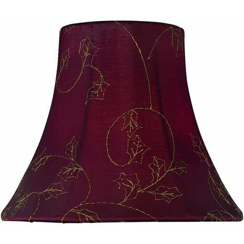 Lite Source Lighting Red Jacquard Bell Lamp Shade with Clip-On Assembly CH5147-6