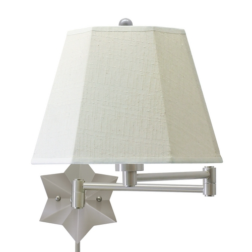 House of Troy Lighting Swing Arm Lamp with White Shade in Antique Silver Finish WS751-AS