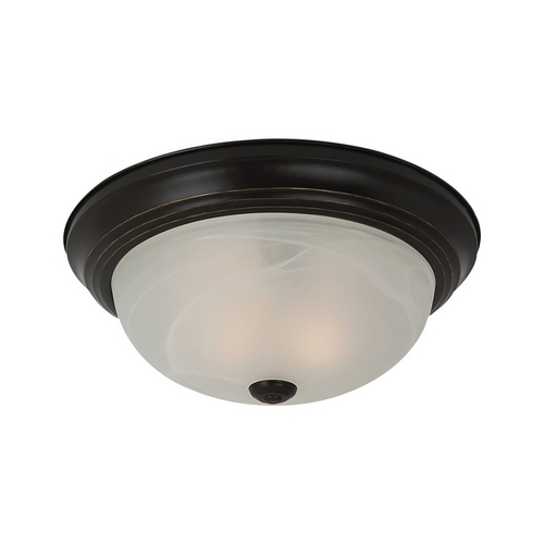 Sea Gull Lighting Flushmount Light with Alabaster Glass in Heirloom Bronze Finish 75942BLE-782