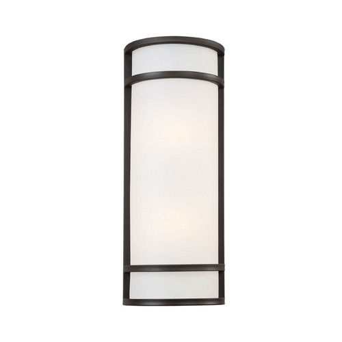 Minka Lavery Outdoor Wall Light with White Glass in Oil Rubbed Bronze Finish 9803-143