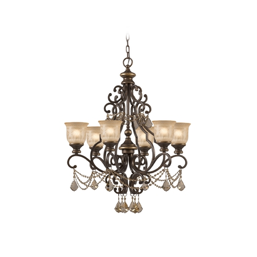 Crystorama Lighting Crystal Chandelier with Amber Glass in Bronze Umber Finish 7516-BU-GT-MWP