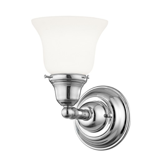 Design Classics Lighting Craftsman Style Sconce Chrome with Bell Glass 671-26/G9110 KIT
