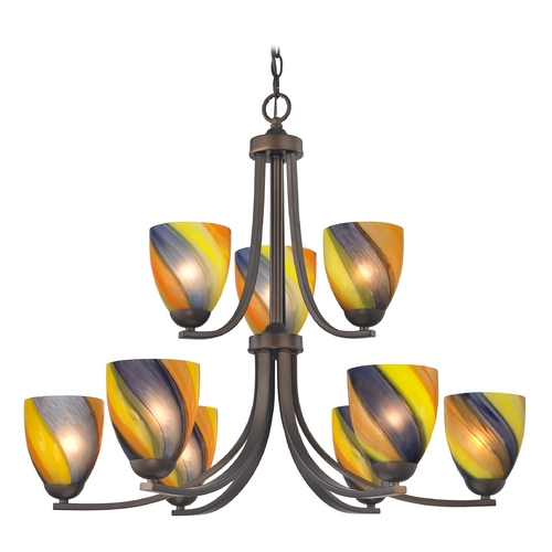 Design Classics Lighting Modern Chandelier with Art Glass in Neuvelle Bronze Finish 586-220 GL1015MB