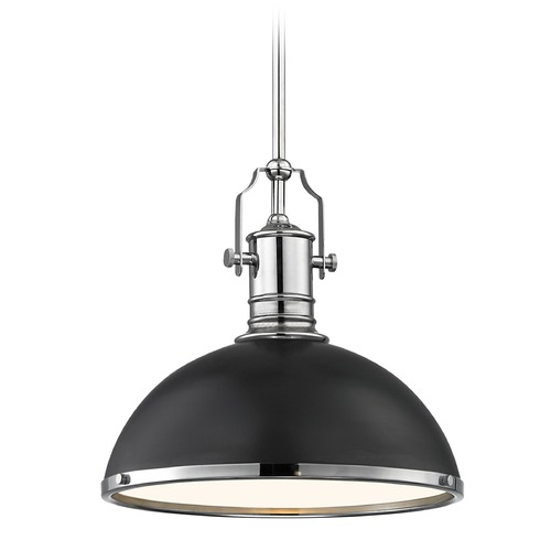 Design Classics Lighting Industrial Black Pendant Light Chrome Accents 13.38-Inch Wide 1765-26 SH1776-07 R1776-26