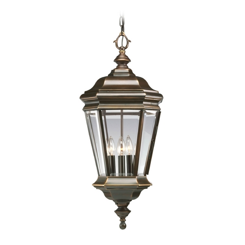Progress Lighting Progress Oil Rubbed Bronze Outdoor Hanging Light with Clear Glass P5574-108