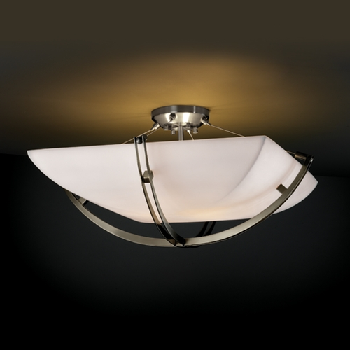 Justice Design Group Justice Design Group Porcelina Collection Semi-Flushmount Light PNA-9712-25-SMTH-NCKL