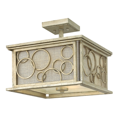 Hinkley Lighting Semi-Flushmount Light with Beige / Cream Shades in Silver Leaf Finish 3281SL