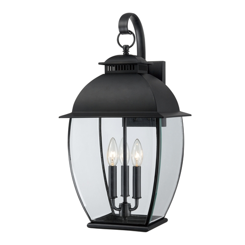 Quoizel Lighting Outdoor Wall Light with Clear Glass in Mystic Black Finish BAN8411K