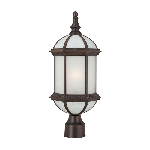 Nuvo Lighting Post Light with White Glass in Rustic Bronze Finish 60/4995