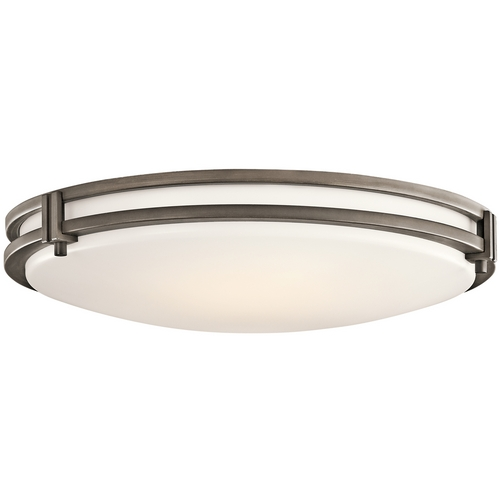 Kichler Lighting Kichler Modern Flushmount Light with White Glass in Olde Bronze Finish 10828OZ