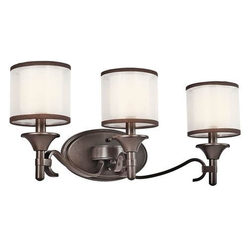 Kichler Lighting Kichler Bathroom Light with White Glass in Mission Bronze Finish 45283MIZ