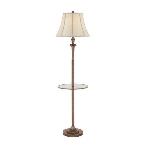Quoizel Lighting Floor Lamp with White Shade in Palladian Bronze Finish Q1073FPN
