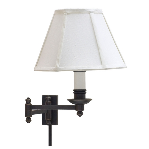 House of Troy Lighting Swing Arm Lamp with White Shade in Oil Rubbed Bronze Finish LL660-OB