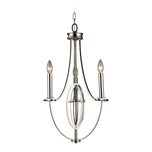 Elk Lighting Modern Mini-Chandelier in Polished Nickel Finish 10120/3