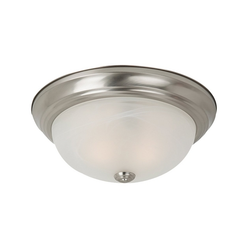 Sea Gull Lighting Flushmount Light with Alabaster Glass in Brushed Nickel Finish 75942BLE-962