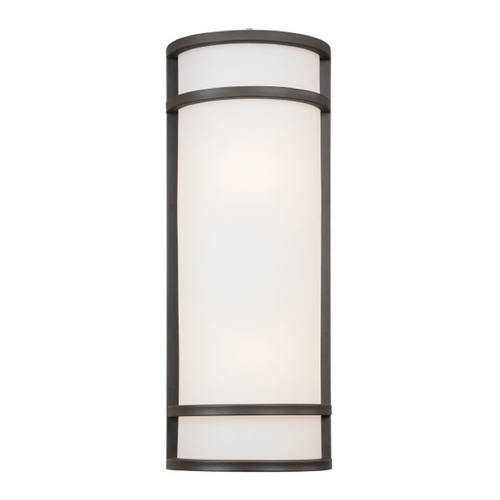 Minka Lavery Modern Outdoor Wall Light with White Glass in Oil Rubbed Bronze Finish 9803-143-PL