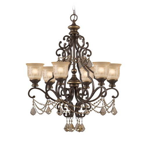 Crystorama Lighting Crystal Chandelier with Amber Glass in Bronze Umber Finish 7516-BU-GTS